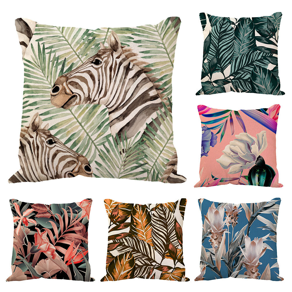 Cross-Border Linen Pillowcase Ins Tropical Plants Home Decoration Supplies Nordic Green Plants Custom Cushion Cover
