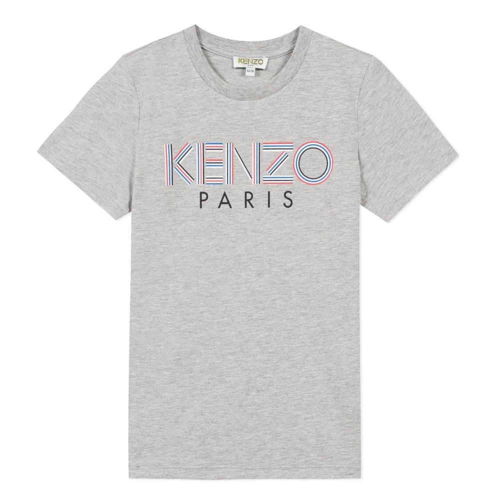 Kenzo Kids Paris Logo Print T-Shirt Colour: GREY, Size: 8 YEARS