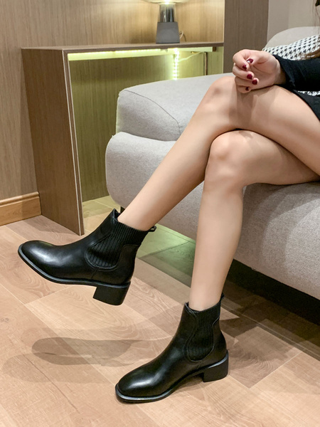 Milanoo Black Chelsea Boots Women PU Leather Round Toe Chunky Heel Booties