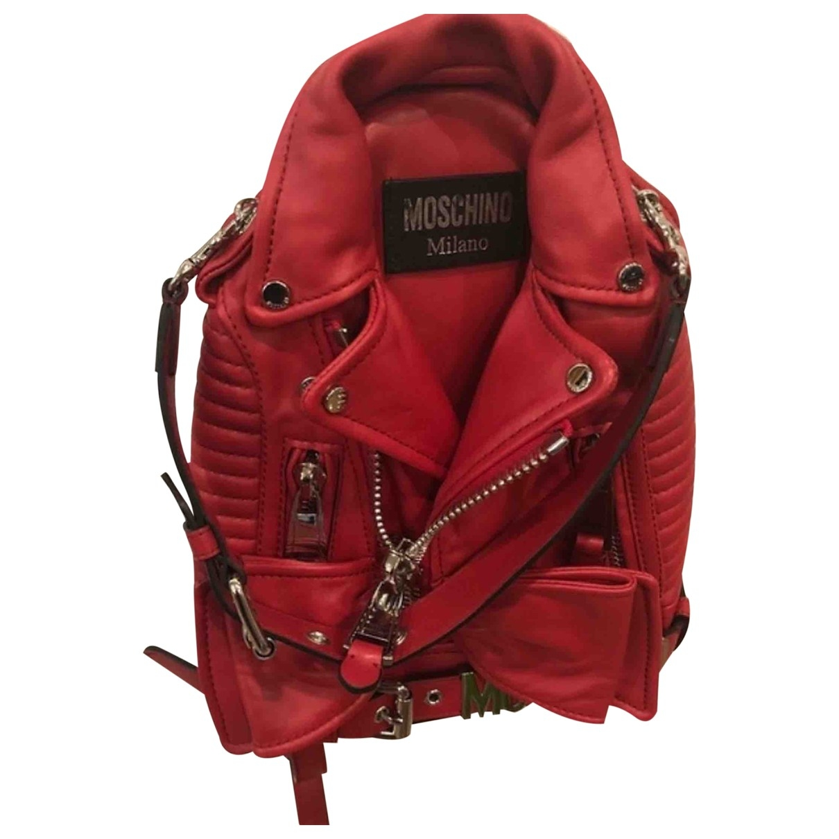 Moschino - Sac a dos Biker pour femme en cuir - rouge