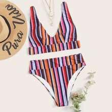 Bikini Badeanzug mit Streifen und hoher Taille