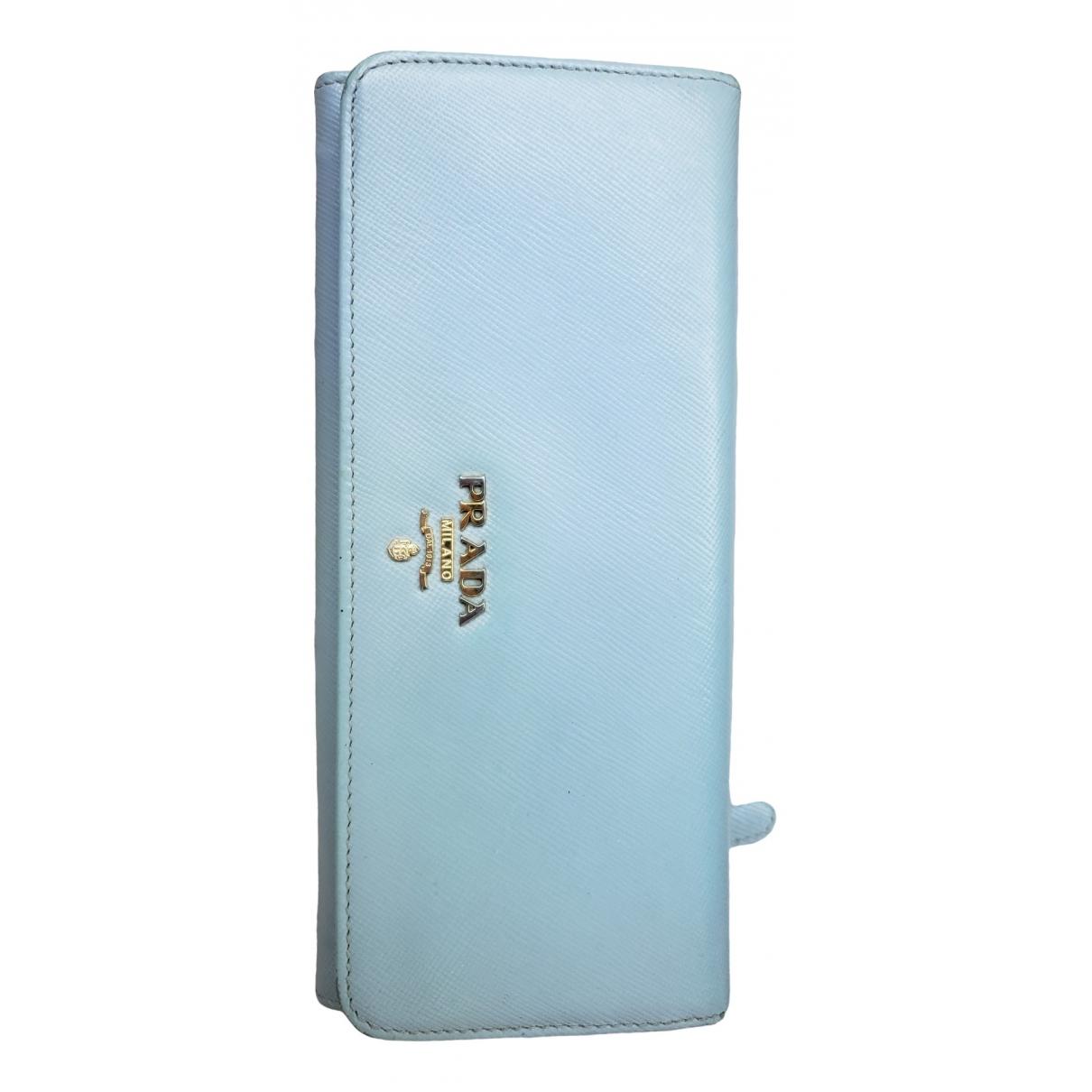 Prada - Portefeuille   pour femme en cuir - turquoise
