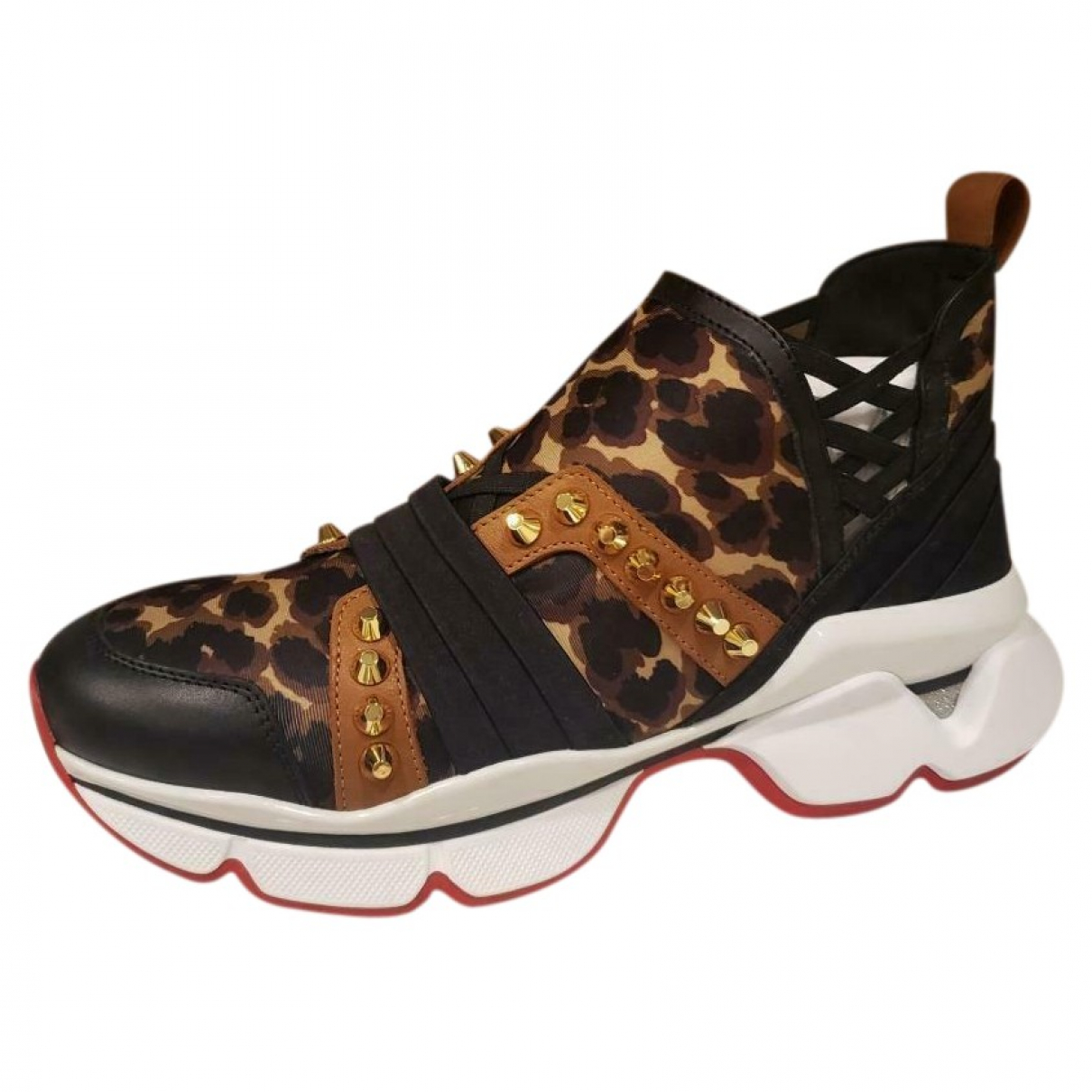 Christian Louboutin Red Runner Donna Glitter Sunset Brown Leather Trainers for Women 41 EU