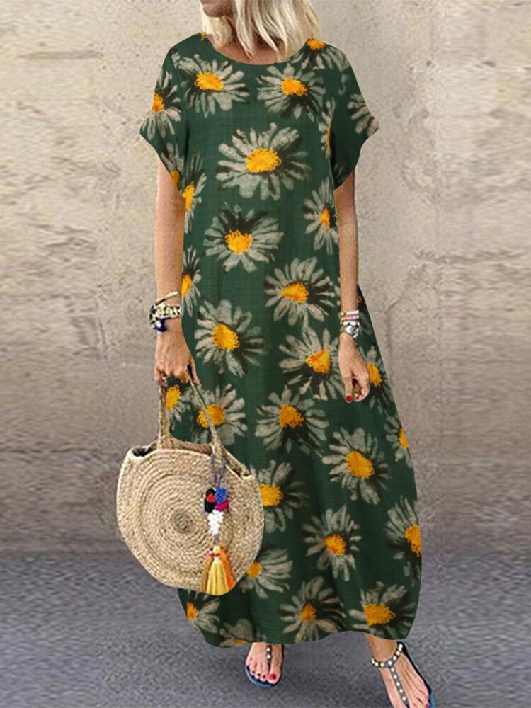 Sun Flowers Print Short Sleeve Plus Size Maxi Dress