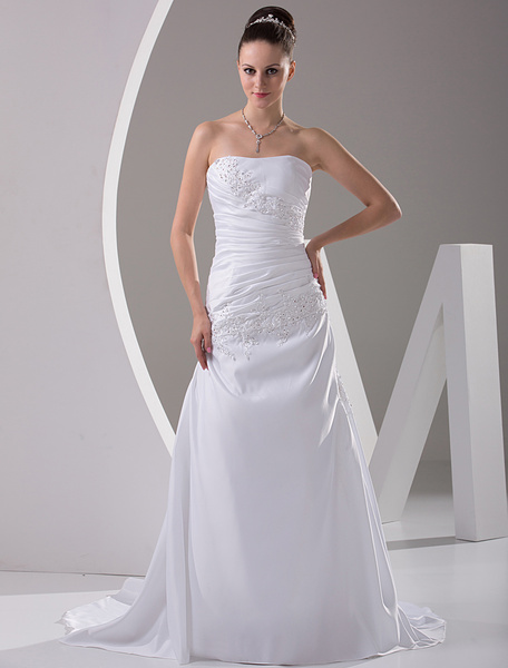 Milanoo Sheath Strapless Beaded Embroidery Satin Wedding Dress