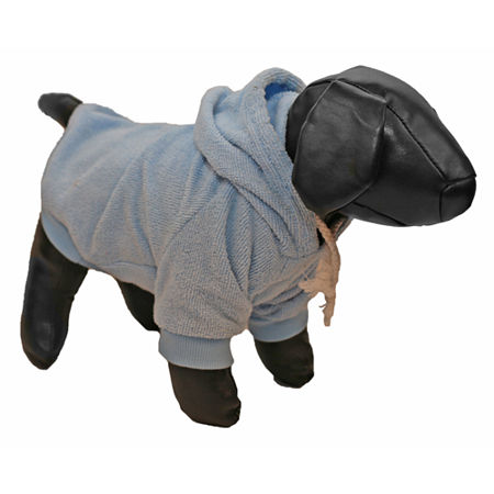 The Pet Life French Terry Pet Hoodie Hooded Sweater, One Size , Blue