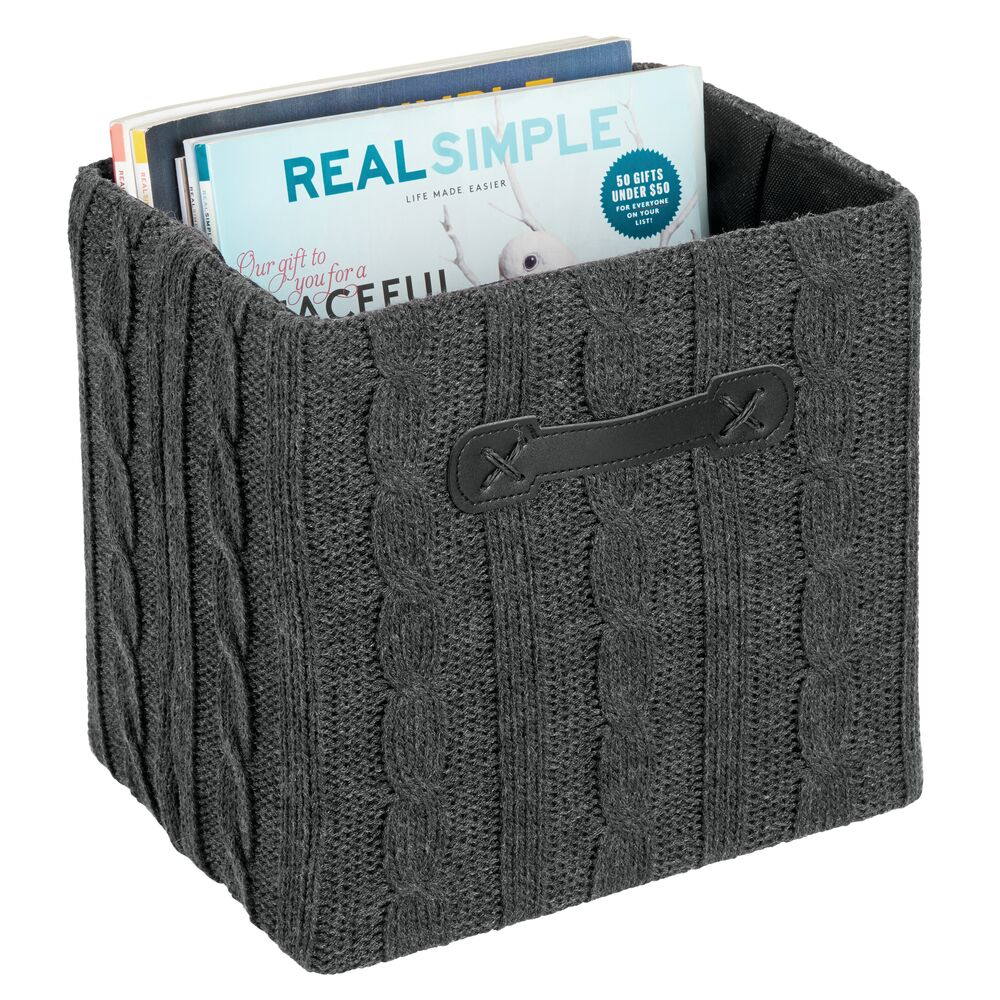 Knitted Texture Home Storage Organizer Bo in Charcoal Gray, 10.5