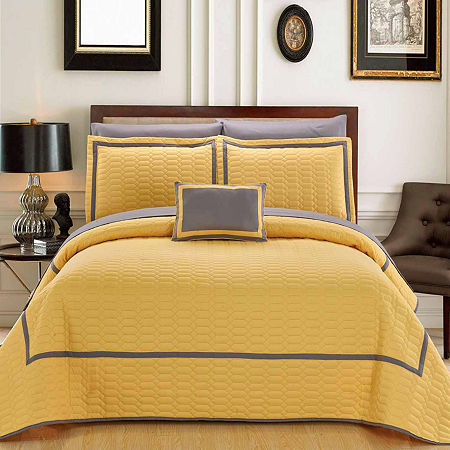 Chic Home Mesa Embroidered Quilt Set, One Size , Yellow