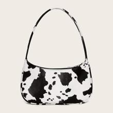 Bolsa baguette con patron de vaca