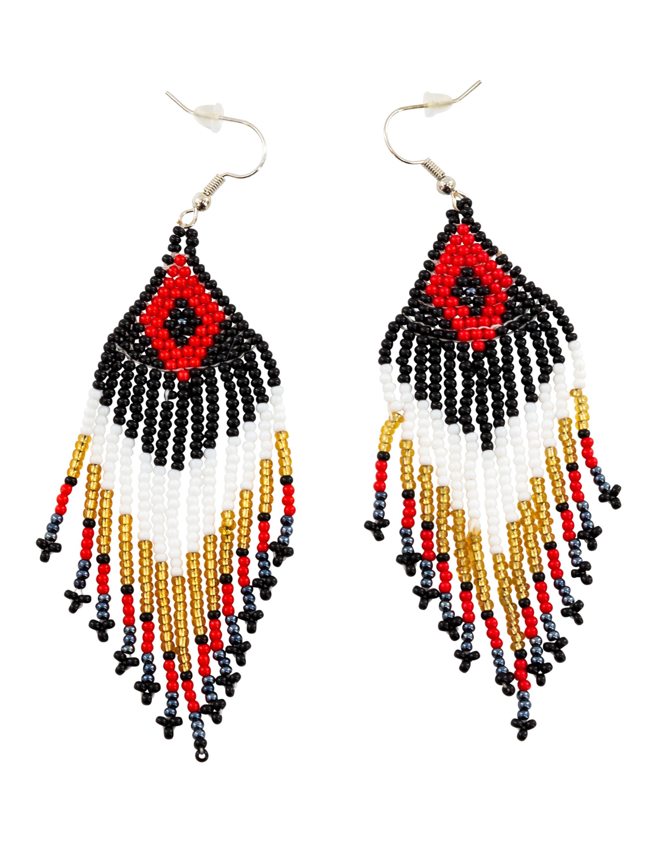 Kostuemzubehor Ohrringe Perlen schwarz/weiss/rot