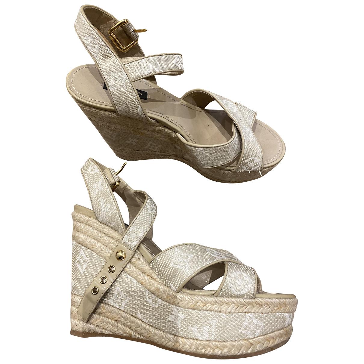 Louis Vuitton - Sandales   pour femme en toile - ecru