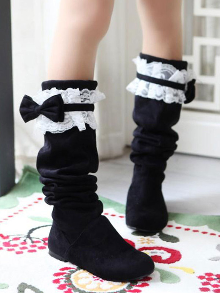 Milanoo Sweet Lolita Boots Lace Bow Suede Lolita Shoes