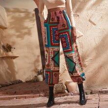 Paisley Scarf Print Elastic Waist Pants