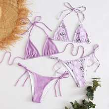 4pack Snakeskin Triangle Tie Side Bikini Swimsuit