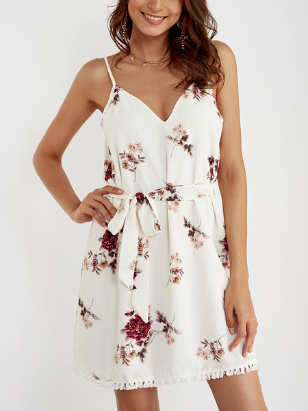 Yoins White Self-tie Design Random Floral Prin V Neck Mini Dress