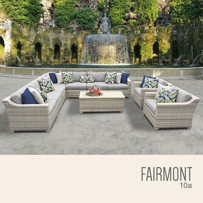 FAIRMONT-10a-GREY Fairmont 10 Piece Outdoor Wicker Patio Furniture Set 10a with 2 Covers: Beige and