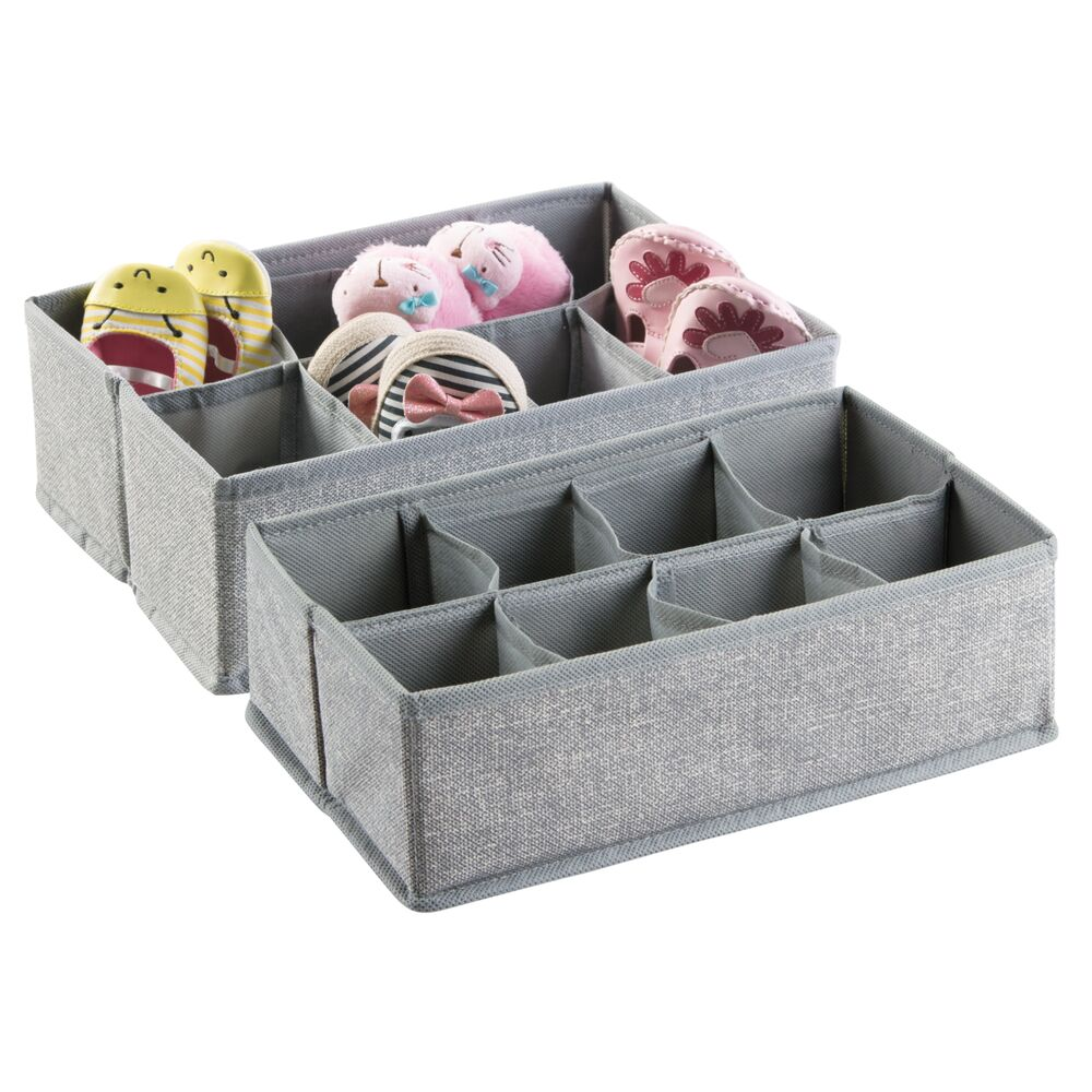 8 Section Kids Fabric Drawer Organizer in Gray, Set of 2, by mDesign