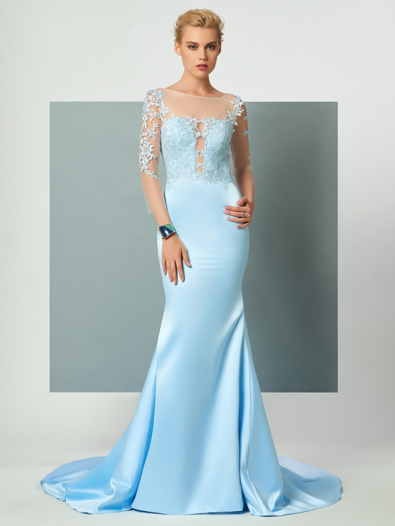 Ericdress 3/4 Length Sleeves Lace Applique Deep Back Court Train Mermaid Long Evening Dress