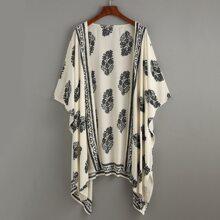 Beige Gebluemt  Kimonos Grosse Grossen