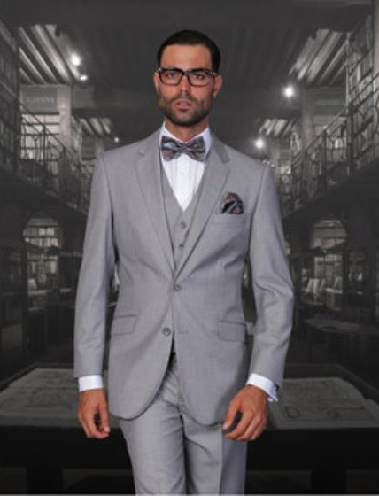 Statement Mens Solid Grey 2 Button Modern Fit 3 Piece Wool Suit