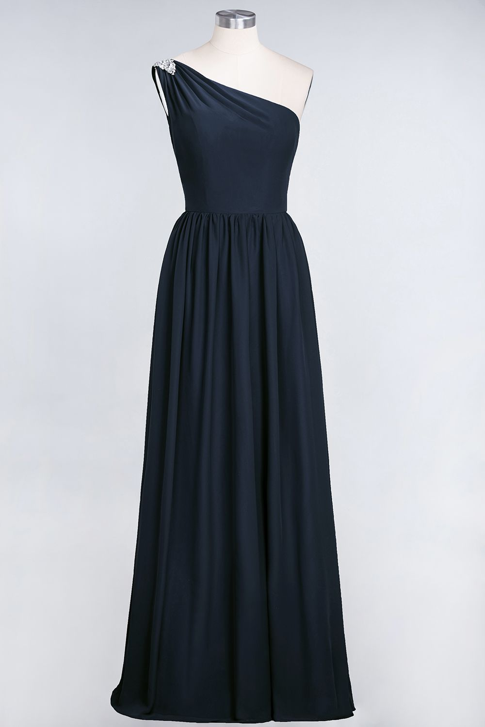 BMbridal Affordable Chiffon One-Shoulder Ruffle Bridesmaid Dress with Beadings