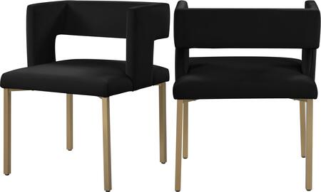 967BLACK-C Caleb Black Velvet Dining Chair (Set of