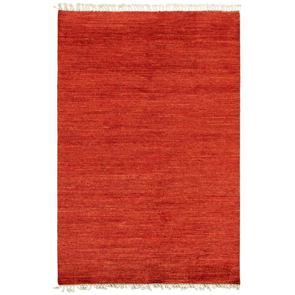 ECARPETGALLERY  Hand-knotted Pak Finest Gabbeh Red Wool Rug - 5'3 x 7'9 (Red - 5'3 x 7'9)