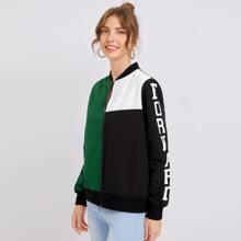 Letter Graphic Colorblock Bomber Jacket
