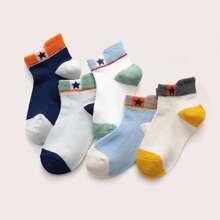 5 Paare Kleinkind Jungen Socken mit Farbblock
