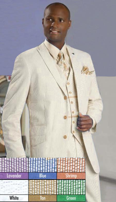 Seersucker Single Breasted 3Piece Suit 3Button Beige/Khaki/Taupe