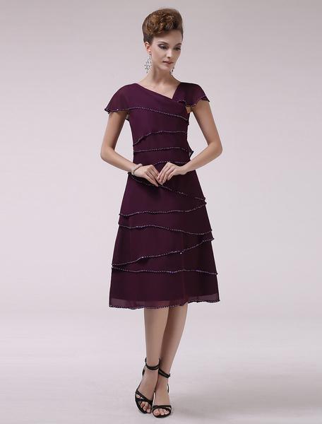 Milanoo Grape A-line V-Neck Tiered Short Sleeves Chiffon Bridal Mother Dress  Wedding Guest Dress