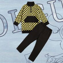 Toddler Boys Checkerboard Half Zipper Sweatshirt With Pants