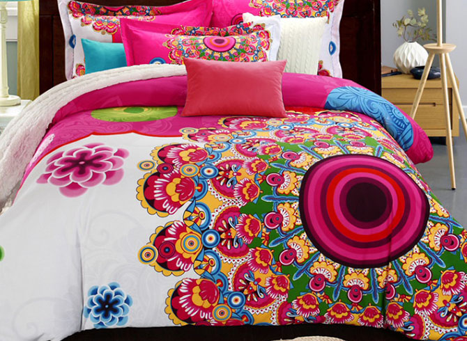 Ethnic Flowers Print Bohemian Style Cotton 4-Piece Bedding Sets/Duvet Covers