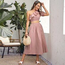 Flounce One Shoulder Crop Top and Button Front Skirt Set
