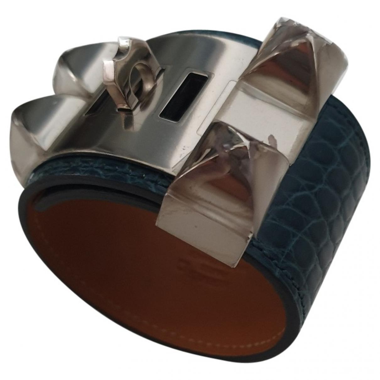 Hermes Collier de chien  Armband in  Blau Aligator