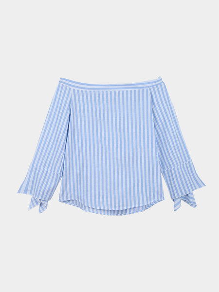 Yoins Blue Off Shoulder Stripe Pattern Blouse with Long Sleeves