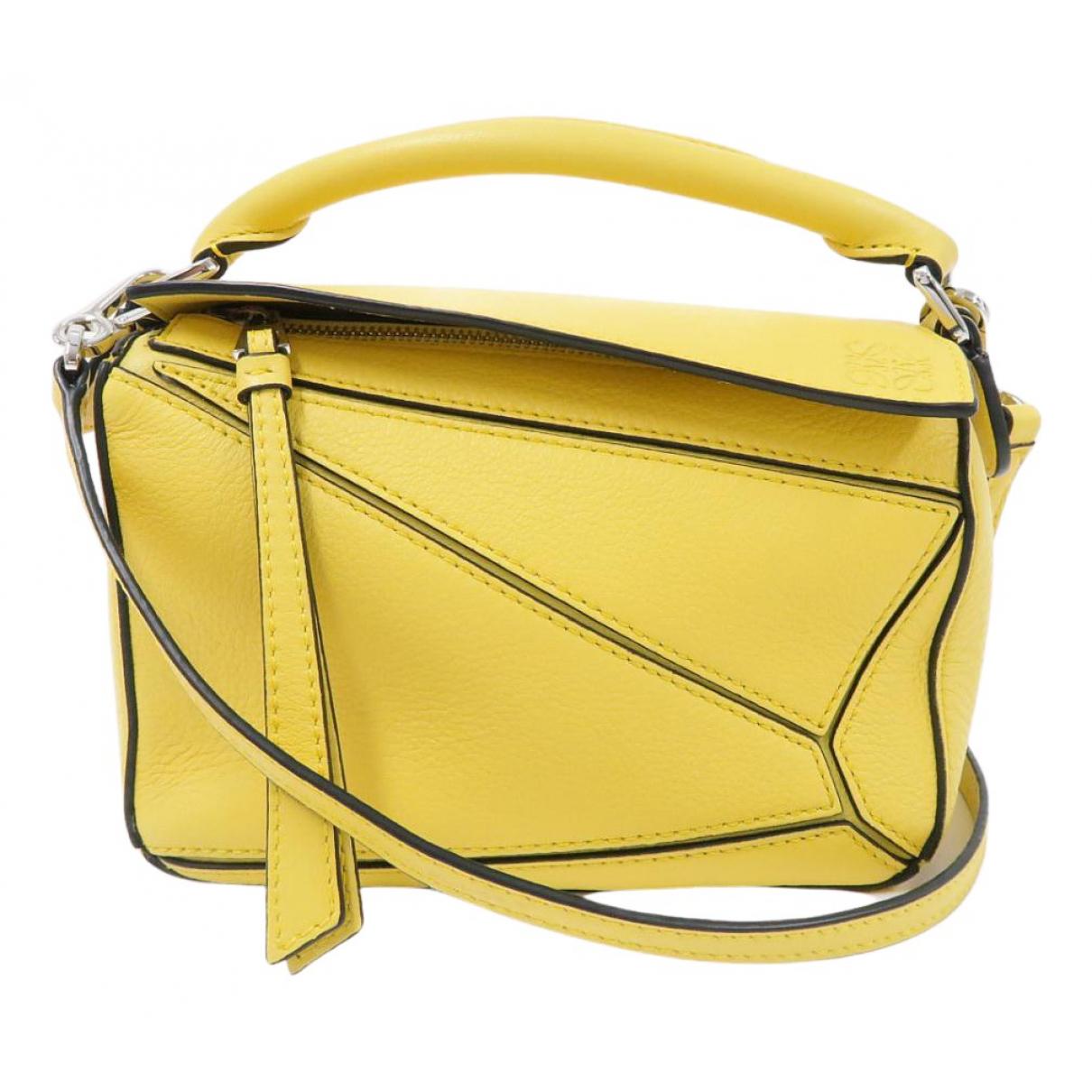 Loewe Puzzle  Handtasche in  Gelb Leder