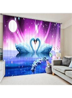 3D Romantic White Swan Lovers Printed Thick Polyester 2 Pieces Bedroom Curtain