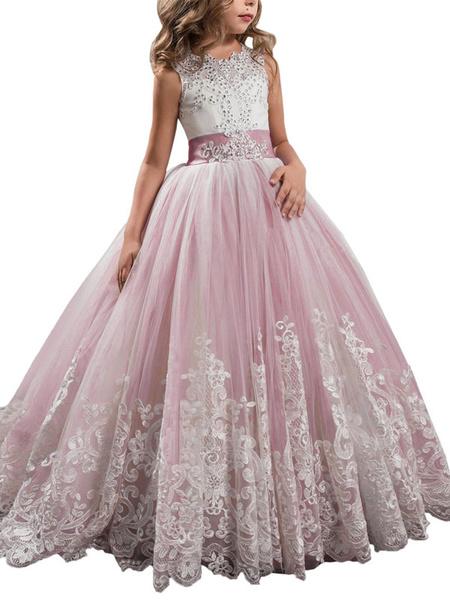 Milanoo Flower Girl Dresses Jewel Neck Sleeveless Studded Formal Kids Pageant Dresses
