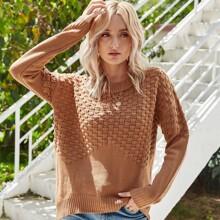 Textured Knit Drop Shoulder Sweater
