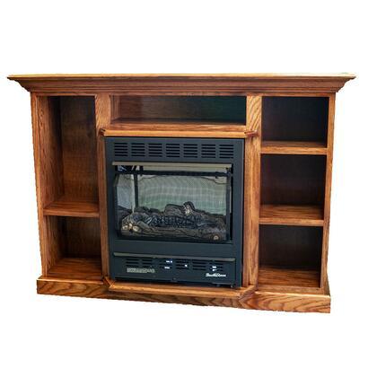 1127 Prestige Series NV 11272LPPRES-DO Mantel and Liquid Propane Wood Stove Combo in Dark Oak