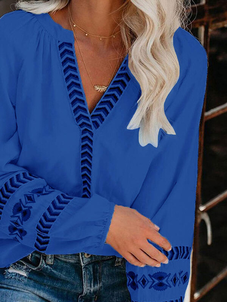 Milanoo Boho Women Blouse Deep Blue V-Neck Long Sleeve Casual Tops