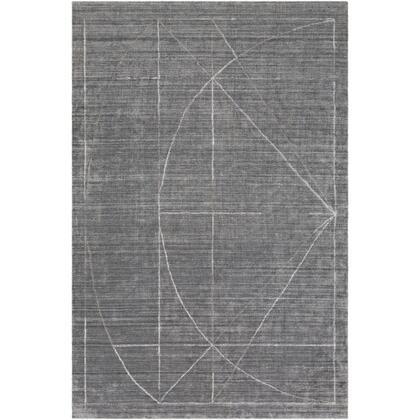 Hightower HTW-3009 8 x 10 Rectangle Modern Rug in Medium Gray  Charcoal  White