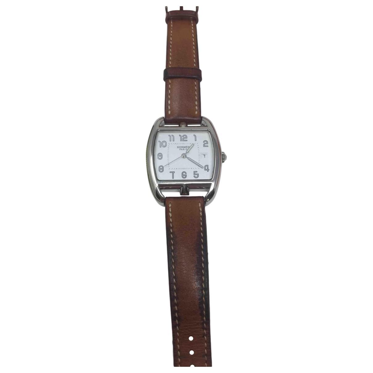 Hermes Cape Cod Tonneau Uhr in  Silber Stahl