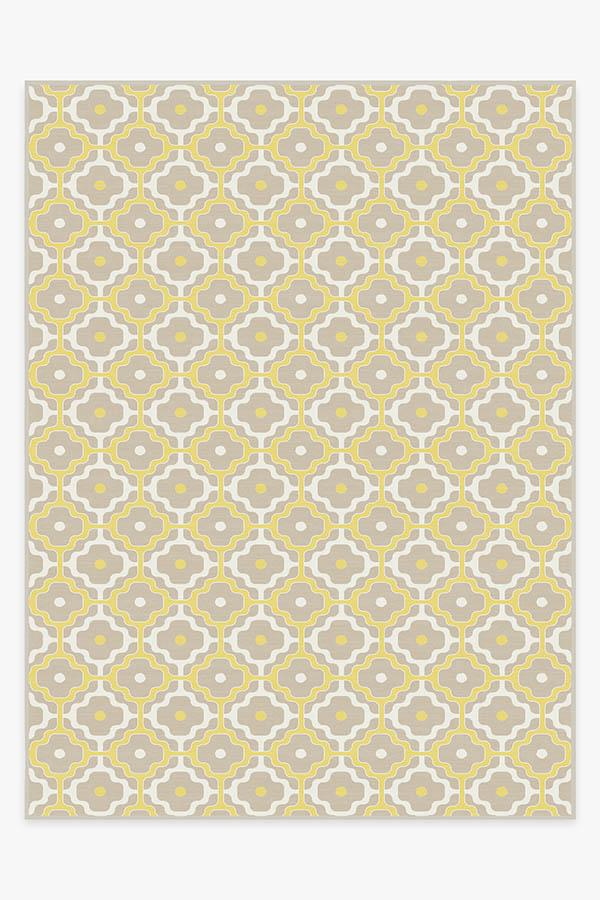 Washable Rug Cover & Pad   Chloe Trellis Yellow Rug   Stain-Resistant   Ruggable   9'x12'