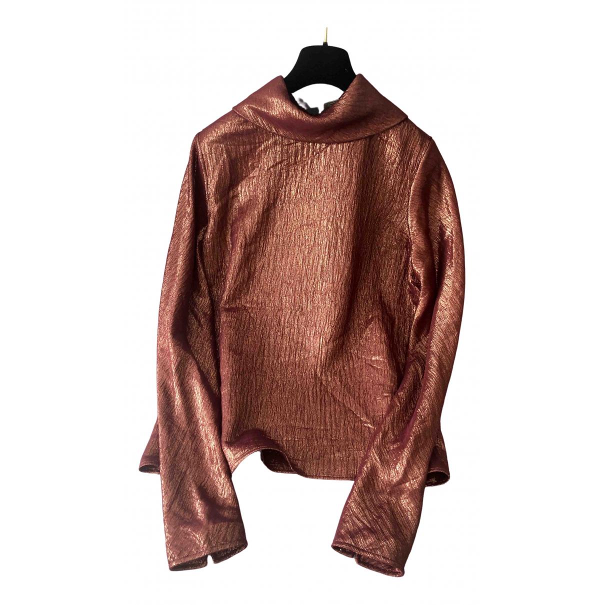 Hermes - Top   pour femme en soie - metallise