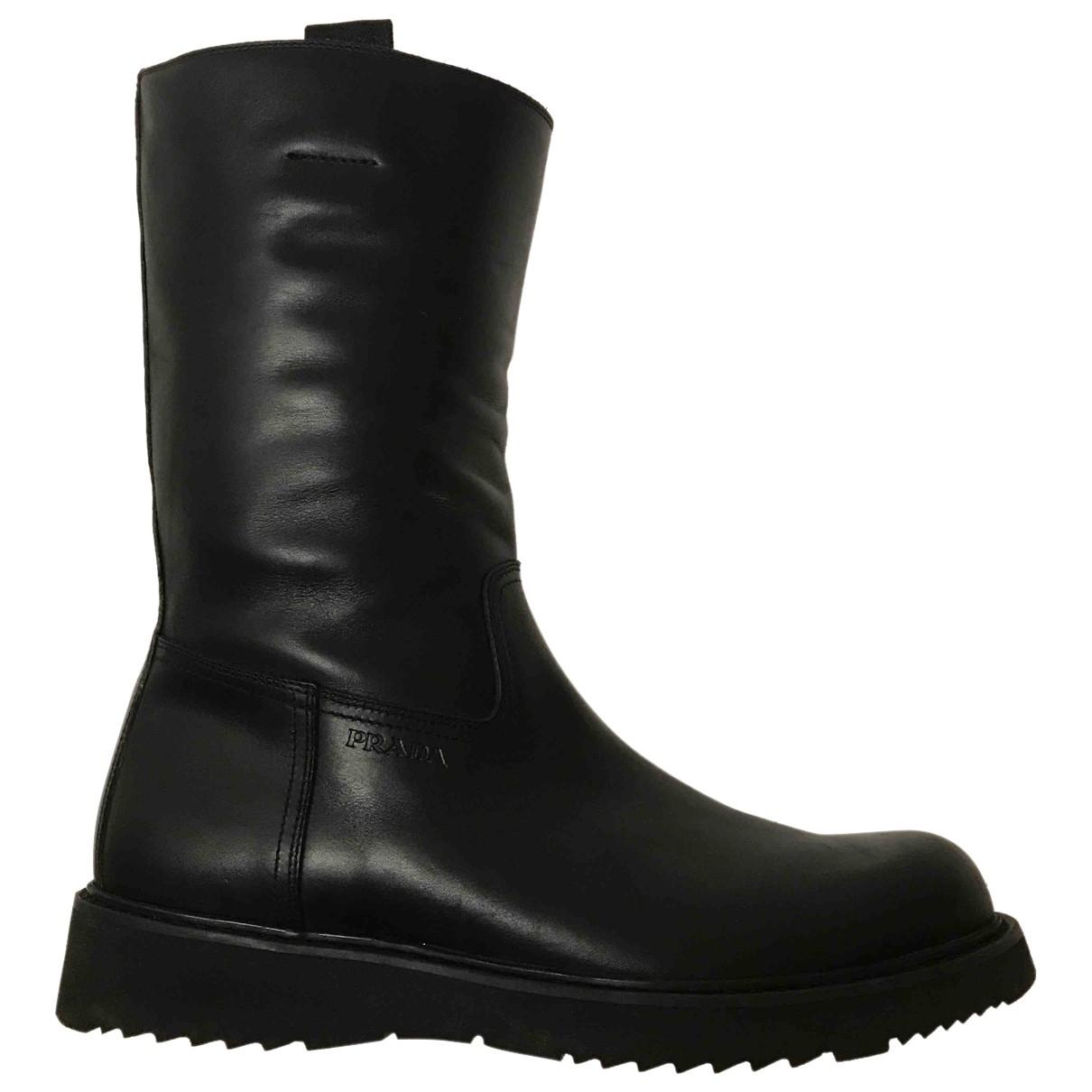 Prada - Bottes.Boots   pour homme en cuir - noir