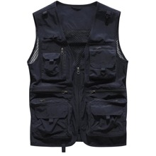 Guys Zip Up Flap Pocket Front Contrast Fishnet Vest