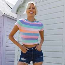 Cap Sleeve Colorful Striped Crop Top