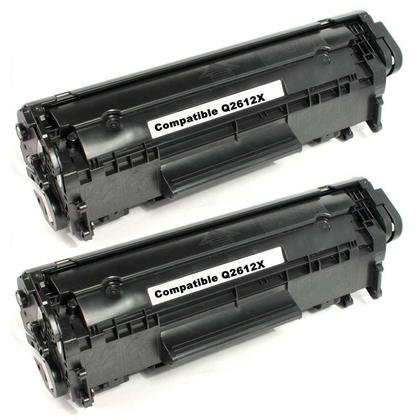 Compatible HP 12X Q2612X cartouche de toner noire haute capacite - boite economique - 2/paquet